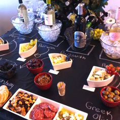 Wine tasting party - a simple chalk board makes a great table top