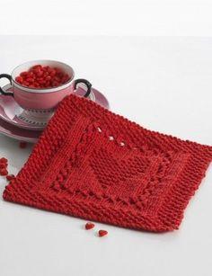Lily Sugar 'n Cream Heart Dishcloth / Blanket  Free Intermediate Home Decor Knit Pattern