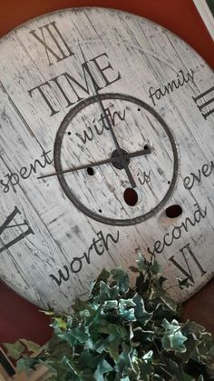 Enrich Your Room with an Oversize Clock Big Wall Clocks, Cool Clocks, Clock Wall, Farmhouse Clocks, Farmhouse Decor, Spool Tables, Spool Crafts, Wood Spool, How To Make Wall Clock
