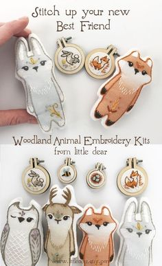 Woodland Animal Hand Embroidery Kits Stitch up a sweet woodland animal friend with these fun beginner embroidery kits from little dear. Hand Embroidery Patterns, Diy Embroidery, Modern Embroidery, Woodland Animals, Woodland Nursery, Embroidery For Beginners, Felt Crafts, String Crafts, Felt Toys
