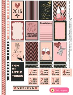 Free Printable New Year Stickers for Happy Planner