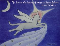 """Artwork """"Love Lives On"""" by me Angela K. Scott... As I mourn the loss of my beloved feline furkid Cindle, & this is dedicated to all who've lost a cherished pet! - - - pet loss support, living on, not to die, love is eternal, furkid, pet parent, angel cat, winged feline, flying cat, heart love, heavens, night sky, illustration, art, mourn, grief, solace, comfort, inspiring, peace, aks creations."""