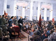 Lenin addresses the Second All-Russian Congress of Soviets in St. Petersburg, November 8