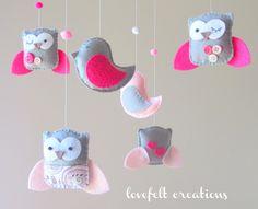 Baby Crib Mobile - Baby Mobile - Owl and Bird Mobile - Pink and Gray Baby Mobile - Mobile - You can Customize your colors :). $95.00, via Etsy.