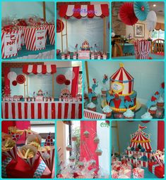 Circus theme baby shower tablescape i set up for a friend.  Cake by Dolce Calabria in Freehold, NJ. Popcorn box labels dessert table signs designed by me. Paper cones by punkyprep on etsy. Circus elephant cupcake toppers by Mariapalito on etsy ( i added the red feathers).
