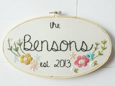 Family Name Embroidery Hoop Art by cinderandhoney on Etsy