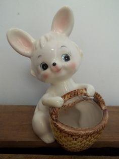 Vintage Ceramic Easter Bunny Bunny Planter by JunkyardElves, $12.00