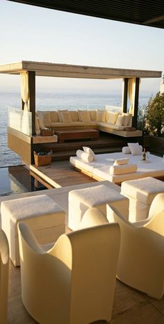 Beach house outdoor living on amazing deck with a gorgeous view of the Ocean in Cape Town, South Africa. Outdoor Rooms, Outdoor Living, Outdoor Furniture Sets, Outdoor Decor, Outdoor Patios, Outdoor Kitchens, Bungalows, Exterior Design, Interior And Exterior