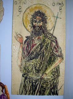 Εικόνα άγιος Ιωάννης  σε κεραμική πλάκα 30 επι 60π.κεραμικά Μανόλη Καραγκούνη,Σκάλα Φούρκας Χαλκιδική. Painting, Art, Art Background, Painting Art, Kunst, Paintings, Performing Arts, Painted Canvas, Drawings