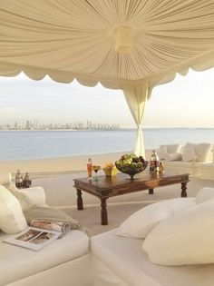 Love the luxe, beachy feel with a city skyline in the distance   -   Atlantis, the Palm (Dubai/ United Arab Emirates)