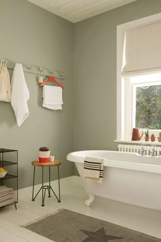 Great wall colour - Pale, muted greens make for a serene bathroom space. Try Overtly Olive on bathroom walls with splashes of bright red or coral to add a twist. Serene Bathroom, Bathroom Colors, Beautiful Bathrooms, Small Bathroom, Bathroom Ideas, Bedroom Green, Green Rooms, Olive Bedroom, Upstairs Bathrooms