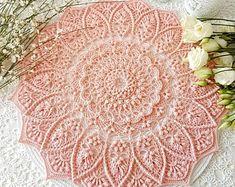 Crochet Doily / Texturé Crochet Nappely / Dentelle Crochet | Etsy Crochet Mandala, Crochet Doilies, Crochet Flowers, Knit Crochet, Lava, Bird Pictures, Flower Applique, Texture, Decoration Table