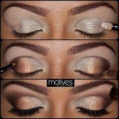 Silver/bronze eye makeup