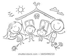 Happy family with two kids near their house, outline drawing - Buy this stock illustration and explore similar illustrations at Adobe Stock Family Drawing, Drawing For Kids, Art For Kids, Family Coloring Pages, Cute Coloring Pages, Family Illustration, Illustration Sketches, Digital Illustration, Outline Drawings