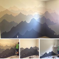 For the back wall in the dining room to help tie it into the kitchen – Kids Room 2020 Bedroom Murals, Kids Bedroom, Wall Murals, Bedroom Decor, Starry Ceiling, Ceiling Art, Mountain Mural, Baby Room Colors, Family Room Decorating
