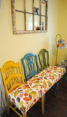 neat idea for a big table and use old chairs that the seats are gone