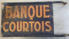 Banque Courtois Enseigne XIX Ancien Publicitaire French Bank Plaque Émaillé Tôle • EUR 425,00 - PicClick FR