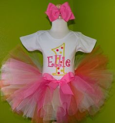 Girls 1st Birthday Creamsicle Pink and Yellow Polka Dot Tutu Set