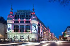 The Printemps Haussmann frontage by night, in Paris