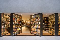 front doors made of revolving bookshelves