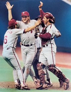 Phillies pitcher Tommy Greene celebrates throwing a no-hitter on May 23, 1991 in Montreal