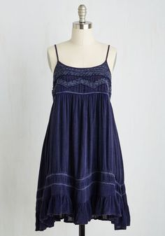 The Sway of the Land Dress - Blue, Solid, Casual, Boho, Festival, Shift, Sleeveless, Woven, Good, Short