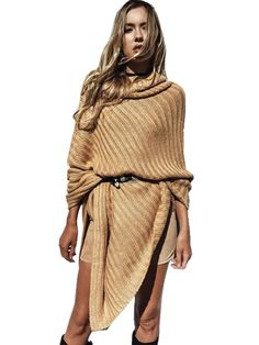 High Neck Women Fashion Khaki Sweater, New Arrival Fantastic Heaps Collar  #Unbranded #Sexy