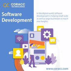 Coracc Technologies software development services can support in designing, testing, maintaining, programming and planning of your company. Our services can help reduce your costs. Software Development, Programming, Technology, Digital, Business, Tech, Tecnologia, Store, Business Illustration