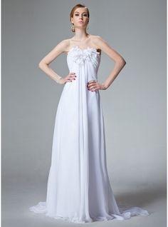 Empire Sweetheart Court Train Chiffon Wedding Dress With Ruffle Beading Flower(s) (002000679)