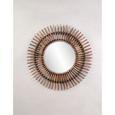Natural Split Rattan Over Concentric Circles Mirror