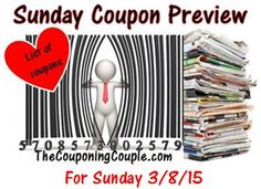 Wondering what specific coupons we are expecting to be in Sunday's (3/8) 2 coupon inserts? Well you will find the complete detailed list HERE ► http://www.thecouponingcouple.com/sunday-coupon-preview-for-3-8-15/  #Coupons #Couponing #CouponCommunity  Visit us at http://www.thecouponingcouple.com for more great posts!