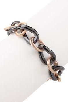 Black & Twisted 18K Rose Gold Chain Link Bracelet  www.hautelook.com