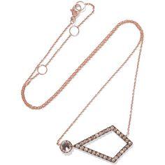 Larkspur & Hawk Caprice Kite 14-karat rose gold, diamond and quartz... (£2,880) ❤ liked on Polyvore featuring jewelry, necklaces, oxidized necklace, druzy quartz necklace, geometric necklace, 14 karat gold necklace and rose gold necklace