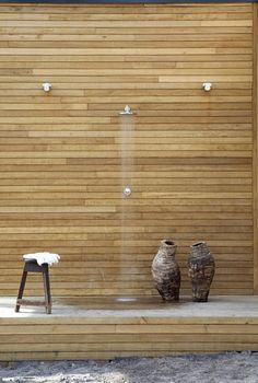 outdoor shower witih modern horizontal wood slats