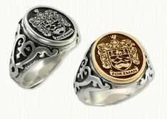 Custom Family Crest Signet Ring with Antiqued Sterling Shank with 18kt Electroplated Top
