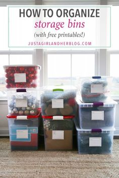 Home Organization, Storage Bins, Organized Bins, Free Printables, Organized Decorations, Christmas Decorations, Organized Holiday Decor