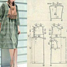 New sewing dress easy tunics ideas Japanese Sewing Patterns, Easy Sewing Patterns, Embroidery Patterns, Blouse Patterns, Clothing Patterns, Sewing Clothes, Diy Clothes, Tunic Pattern, Couture Sewing