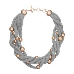 Sterling Silver & Rose Gold Plated Bead Cluster Necklace With Silver Mesh