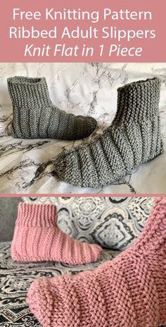 Beginner Knitting Patterns, Knitting For Beginners, Easy Knitting, Knitting Designs, Knitting Projects, Knitting Socks, Knitting Machine, Knit Slippers Free Pattern, Knitted Slippers