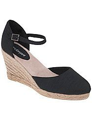 Perfect with everything from long skirts to short shorts, our Mary Jane-style espadrilles pull together all of your favorite, sun-loving looks. Textured upper features a closed toe and buckled ankle strap. Jute wedge heel never goes out of style. Cushioned sole and wide width offer all-day comfort.  lanebryant.com