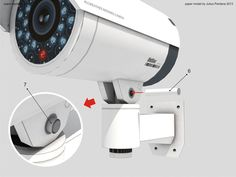 3d Paper Crafts, Paper Toys, Free Paper Models, Cctv Security Cameras, Spy Camera, Paper Cutting, Origami, Printables, Ink