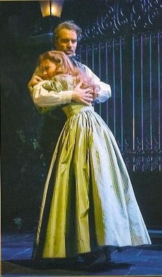 Ramin Karimloo as Jean Val Jean and Samantha Hill as Cosette in the 2014 Les Mis Broadway cast.