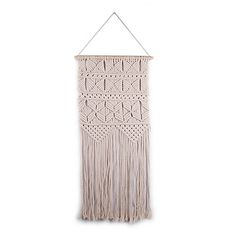 This Hand-Knitted Wall Hanging brings a warm and inviting look to your home décor. Crafted from cotton in tonal colors, this lightweight, hand-woven macrame piece adds texture and craftsmanship to the room.