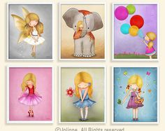 Please visit my shop at: https://www.etsy.com/shop/jolinne Kids Personalized Wall Art Prints, Wall Decals, Children Room Decor, Baby Girl & Boy Nursery Art, Personalized Door Signs and more!  This set of 4 separated wall arts, personalized with hair & skin color, and printed on professional materials using pigment inks, will make the perfect addition to any kids bedroom or nursery and the perfect gift for your loved ones!  -------------------- TO PERSONALIZE your p...