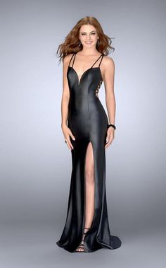 dcc24d1777b La Femme - 24712 Strappy Back Detail Faux Leather Black Evening Gown