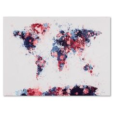 Michael Tompsett 'Paint Splashes World Map 3' Canvas Art | Overstock.com Shopping - The Best Deals on Canvas