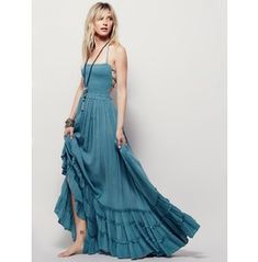 Casual Backless Patchwork Long Dress