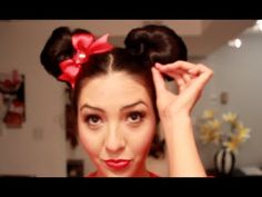 Minnie Mouse Hair EARS (NOT Buns) DIY - Minnie Mouse Makeup and Hair - PART 2