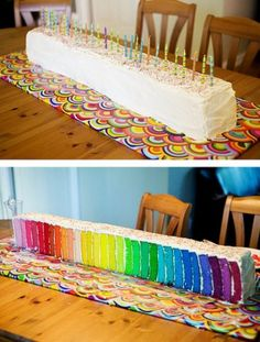 Bowen's Bday Cake?  6x6 pans for layers, 1/2 box of cake mix per pan and gel food coloring are apparently the magic ingredients.  Photo from themetapicture.com