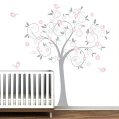 Grey and Pink Swirl Tree with Birds-Nursery Baby Wall Decal Vinyl.  This is super cute and you can customize the colors!